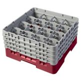 Cambro 16S800416 Cranberry 16 Compartment Glass Rack with 4 Extenders