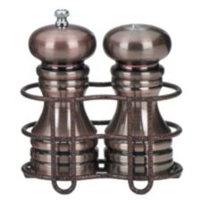 "Chef Specialties 6"" Burnished Peppermill/Salt Shaker Set w/Holder"