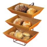 Cal-Mil 1290-3 Wire 3 Tier Display Server Stand with 3 Bamboo Trays