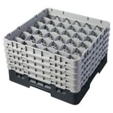 Cambro® 36S958110 Black 36 Compartment Camrack with 5 Extenders