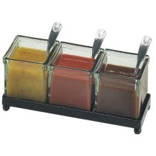 Cal-Mil 1805-4-13 Black Frame Square Coffee Amenities Holder with Jars