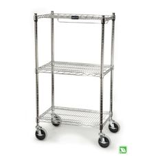 Rubbermaid® FG9G5900CHRM Chrome 3-Shelf Safety Storage Cart