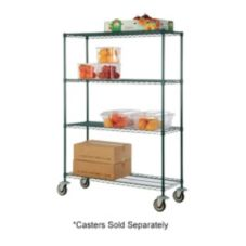 "Focus Foodservice Green Epoxy 4-Shelf 18"" x 48"" Shelving Kit"