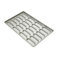Focus Foodservice Aluminized Steel 18-Mold Hot Dog Bun Pan