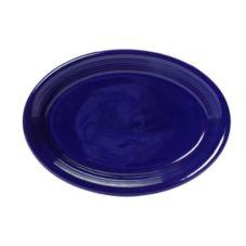 """Tuxton CCH-1352 13-1/2"""" x 9-3/4"""" Cobalt Oval Platter Coupe - 6 / CS"""