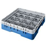 "Cambro 16S318168 Blue 16 Comp 3-5/8"" Full Size Glass Rack - 5 / CS"