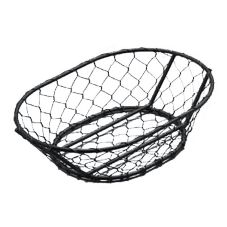 "American Metalcraft WIR4 Chix Black 9.5 x 6.5"" Oval Wire Basket"