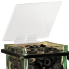 "Cal-Mil® 1811 Soft Hinge 4"" x 4"" Glass Jar Lid - 3 / CS"
