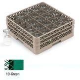 Traex® TR6BBBB-19 Green 25 Compartment Glass Rack with 4 Extenders