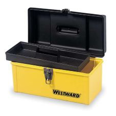 "Westward 1RC60 13"" Yellow Plastic Portable Tool Box"