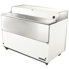 True® S/S and White Vinyl 24.5 Cu Ft Milk Cooler with S/S Interior