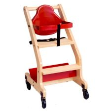 Koala Kare Hardwood Bistro Red High Chair w/Under shelf & Casters