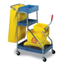 "Continental 271 Port-A-Cart™ Blue 34"" Janitor Cart With Duck Bag"