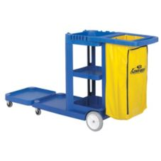 """Continental 186BL Blue 73"""" Convertible Janitor Cart With Bag"""