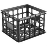 "Sterilite 16929006 Black 15-1/4"" x 13-3/4"" x 10-1/2"" Storage Crate"