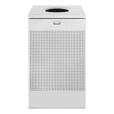 Rubbermaid® FGSC18EPLSM Open Top Square Silver Receptacle - 1 / CS