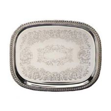 "Eastern Tabletop 5260 S/S 18.5"" Oval Tray with Gadroon Border"