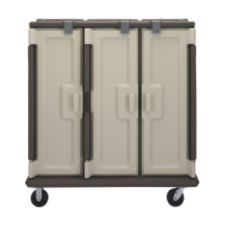 Cambro Tall 3-Comp Granite Sand Meal Delivery Cart w/ Security Package