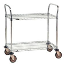 Metro® SP Series 21 x 48 In. Chrome Finish Cart w/ 2-Wire Shelves