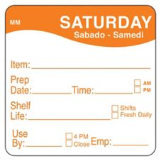 "DayMark 1122126 MoveMark 2"" Saturday Shelf Life Day Square - 500 / RL"