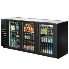 True® Black 3-Swing Glass Door Back Bar Cooler for 150 6-Packs