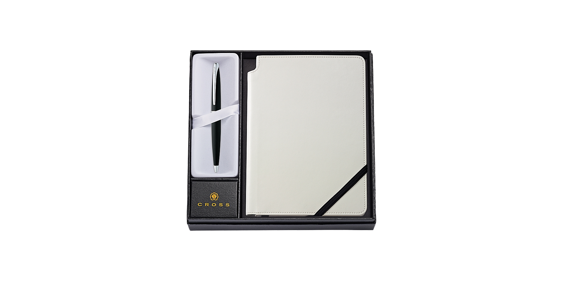 Cross  ATX Basalt Black Ballpoint Pen with Medium Classic White Journal