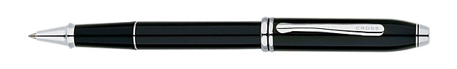 Townsend Black Lacquer/Rhodium Plated Rollerball Pen
