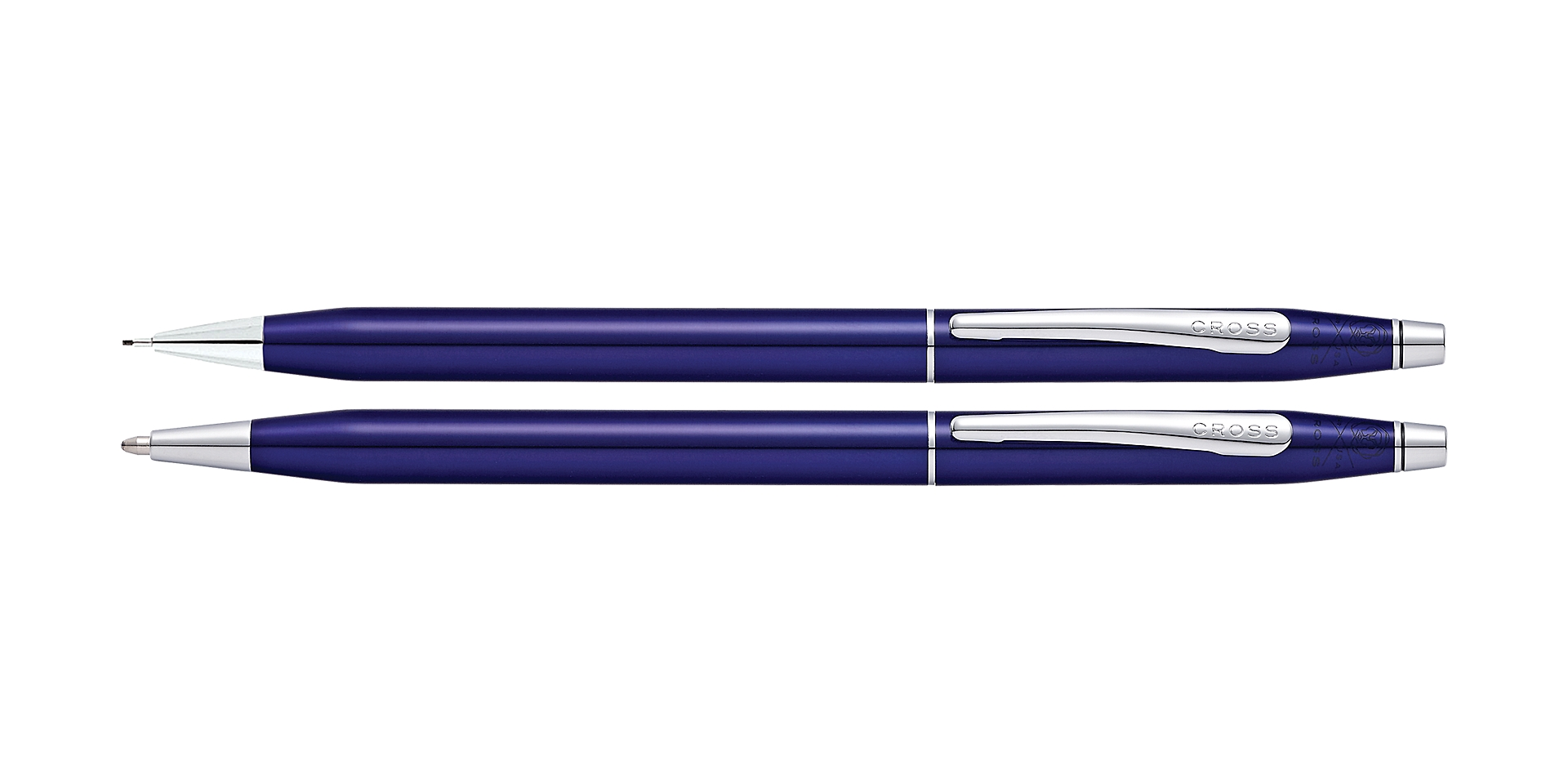 Cross Classic Century Translucent Blue Lacquer Ballpoint Pen and Pencil Set Picture
