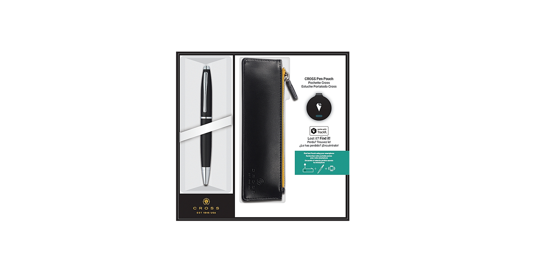 Cross Matte Black Calais Ballpoint with Pen Pouch and TrackR bravo Gift Set Picture
