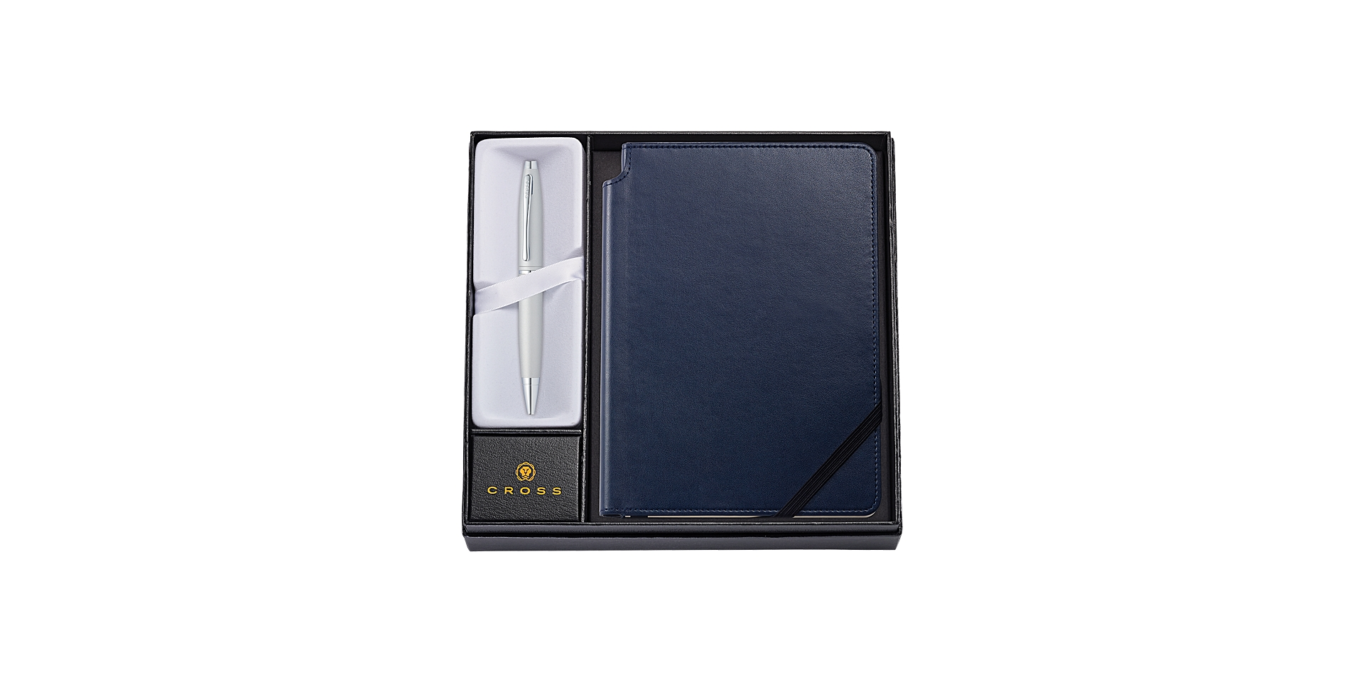 Cross Calais Satin Chrome Ballpoint Pen with Medium Midnight Blue Journal Picture