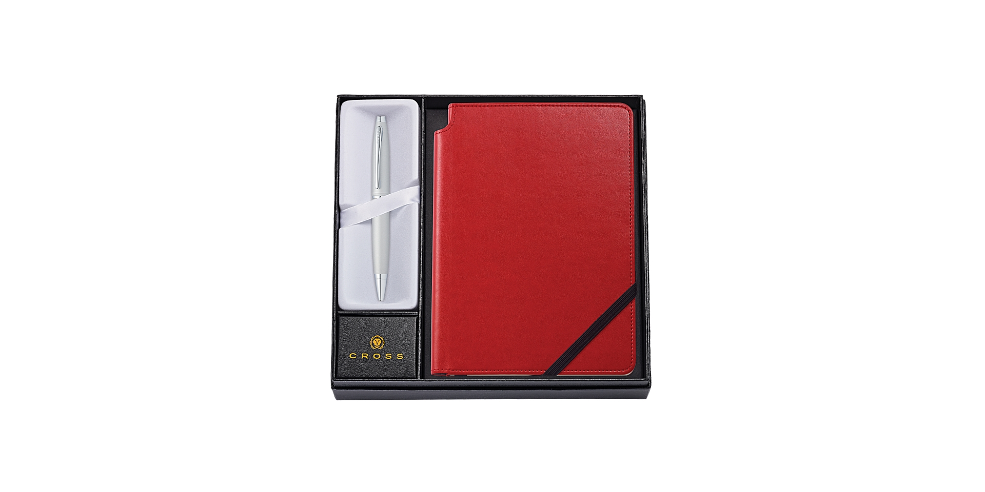 Calais Satin Chrome Ballpoint Pen with Medium Crimson Journal