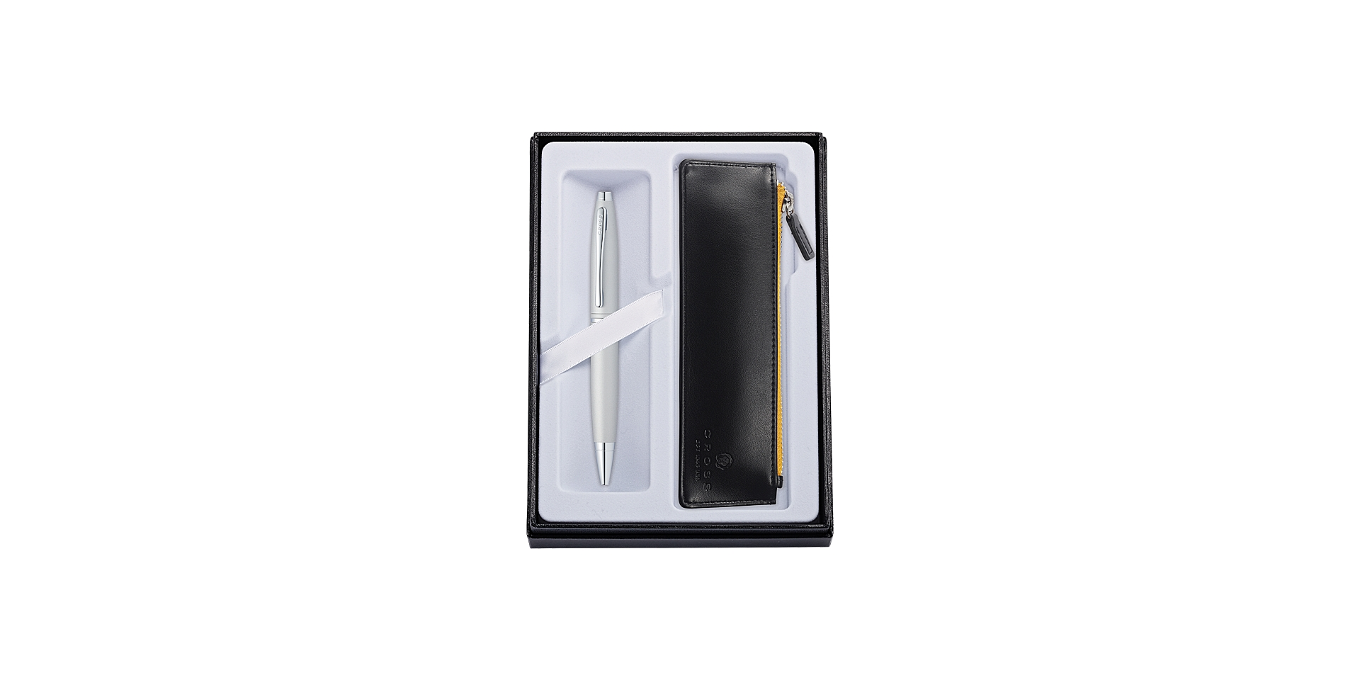 Cross Calais Satin Chrome Ballpoint with Classic Black Pouch Picture
