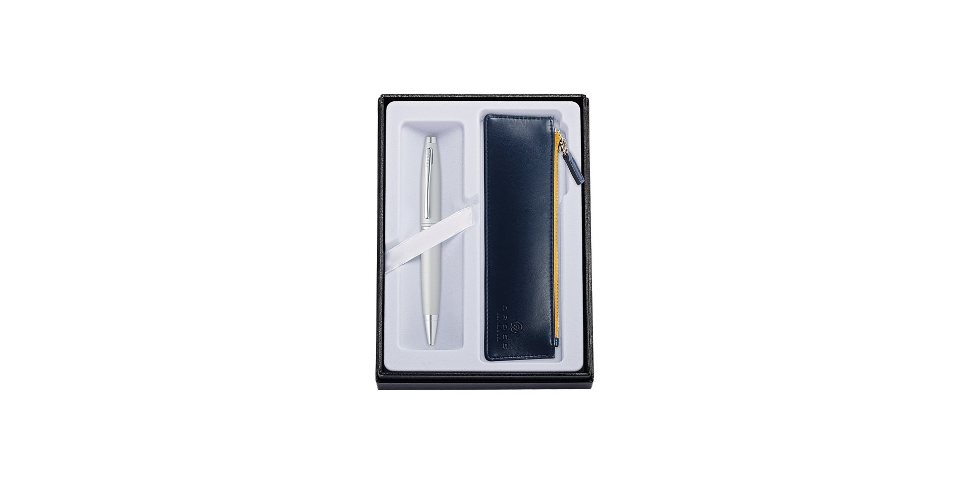 Cross Calais Satin Chrome Ballpoint with Midnight Blue Pouch Picture