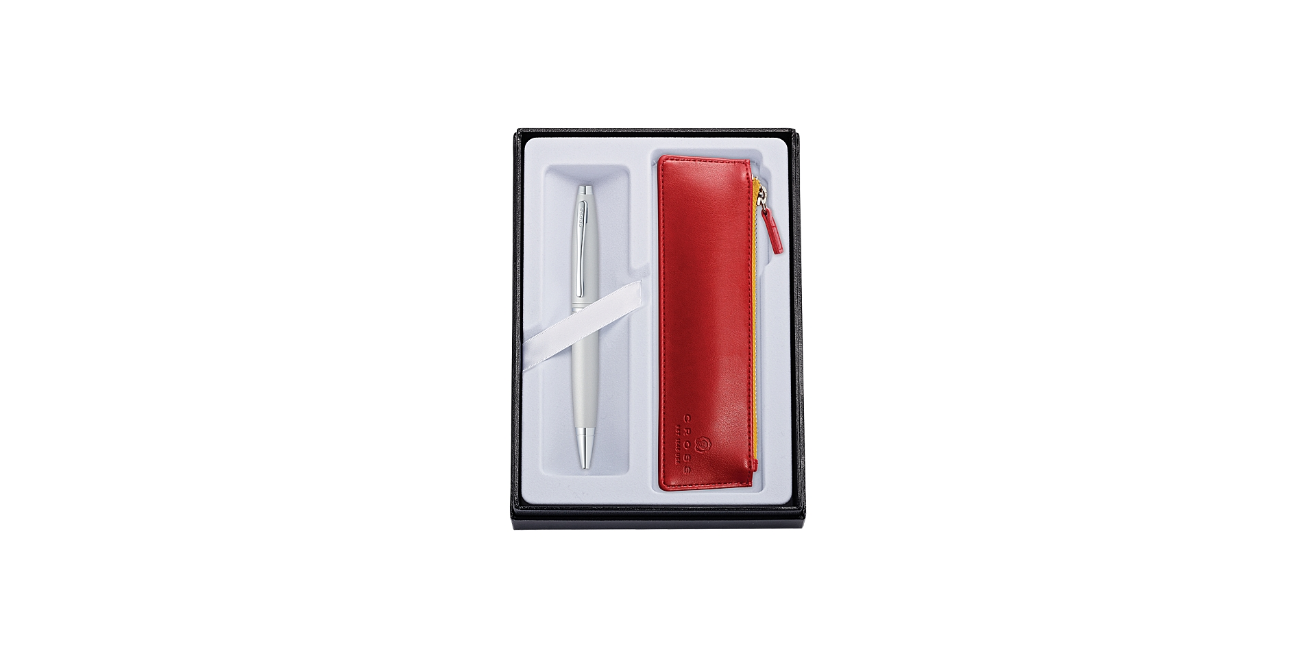 Cross Calais Satin Chrome Ballpoint with Crimson Pouch Picture
