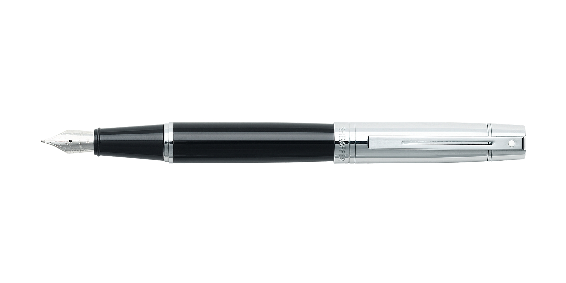 Cross Sheaffer® 300 Glossy Black Barrel with Bright Chrome Cap Fountain  ... Picture