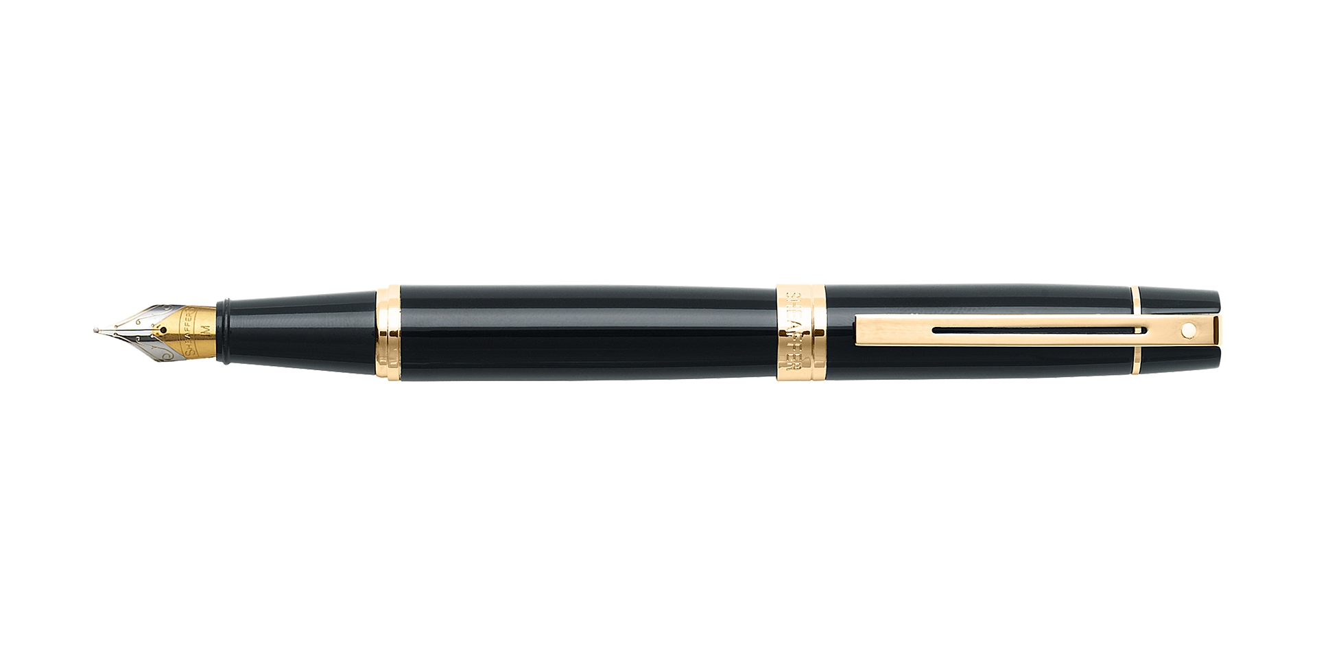 Cross Sheaffer® 300 Glossy Black with Gold Trim Fountain Pen Picture