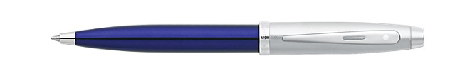 Sheaffer 100 Blue Translucent Barrel with Brushed Chrome Cap Ballpoint Pen