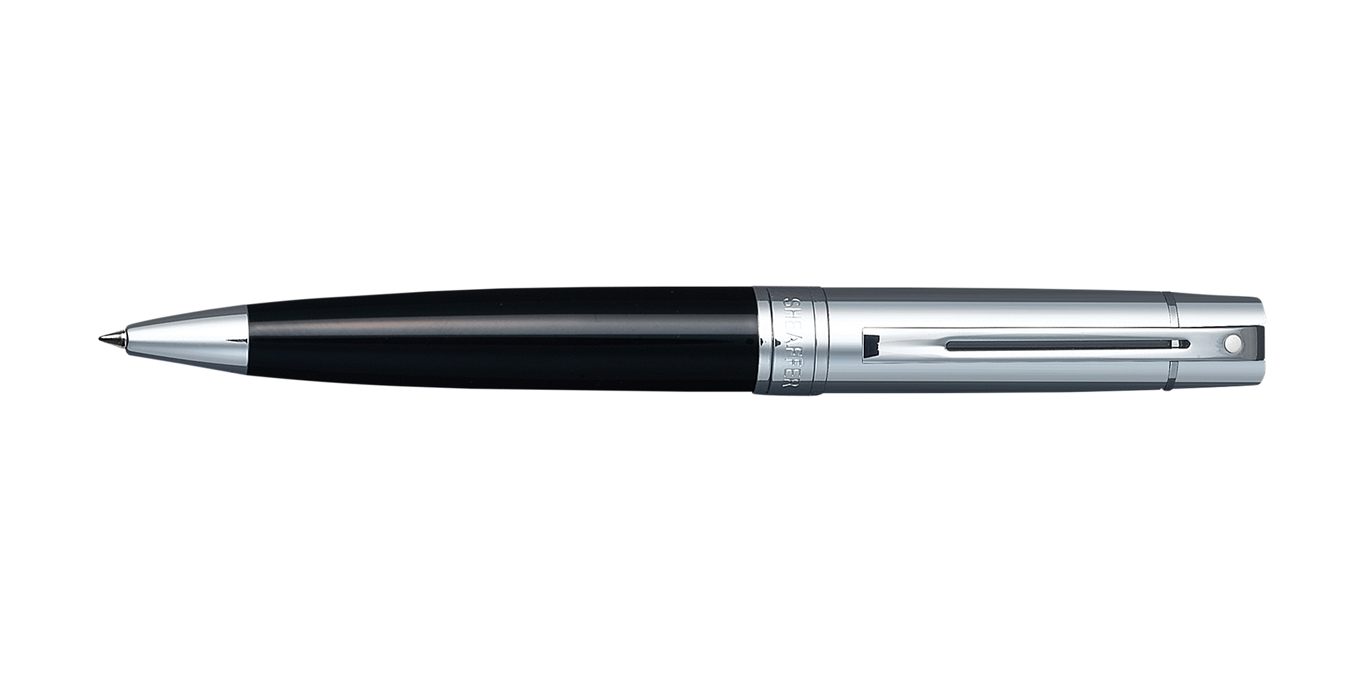 Cross Sheaffer 300 Glossy Black Barrel with Bright Chrome Cap Ballpoint Pen Picture