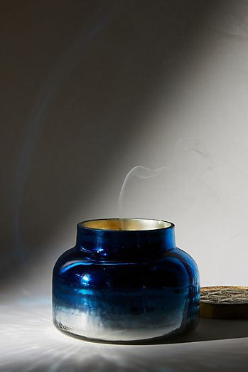 Capri Blue Ombre Faceted Glass Jar Candle