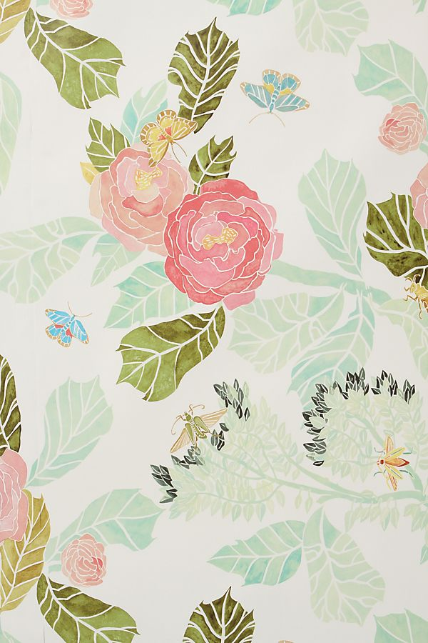 Anthropologie Watercolor Flora Wallpaper