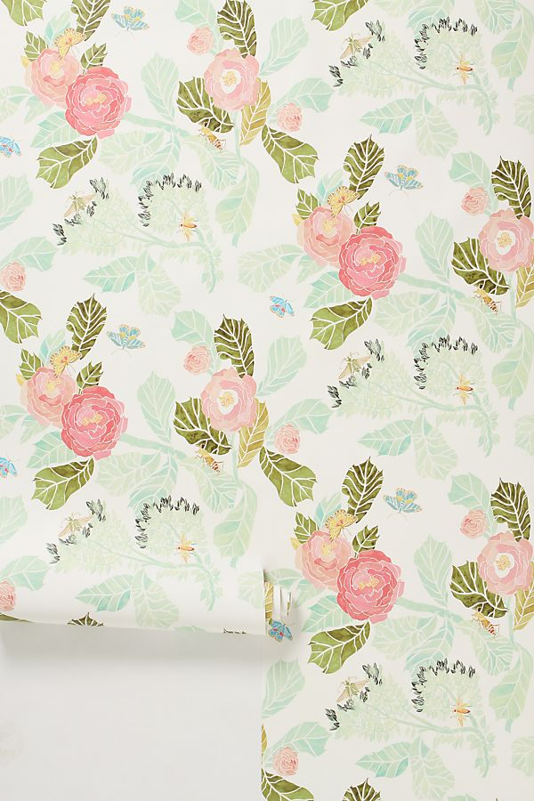 Anthropologie Watercolor Flora Wallpaper