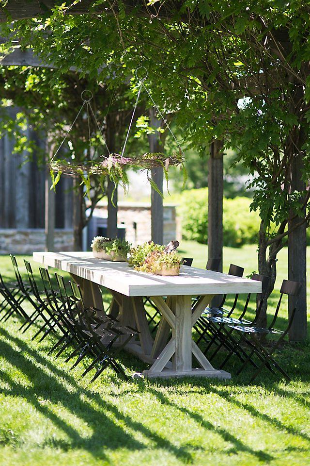 Trestle Teak Dining Table Anthropologie, Outdoor Trestle Table