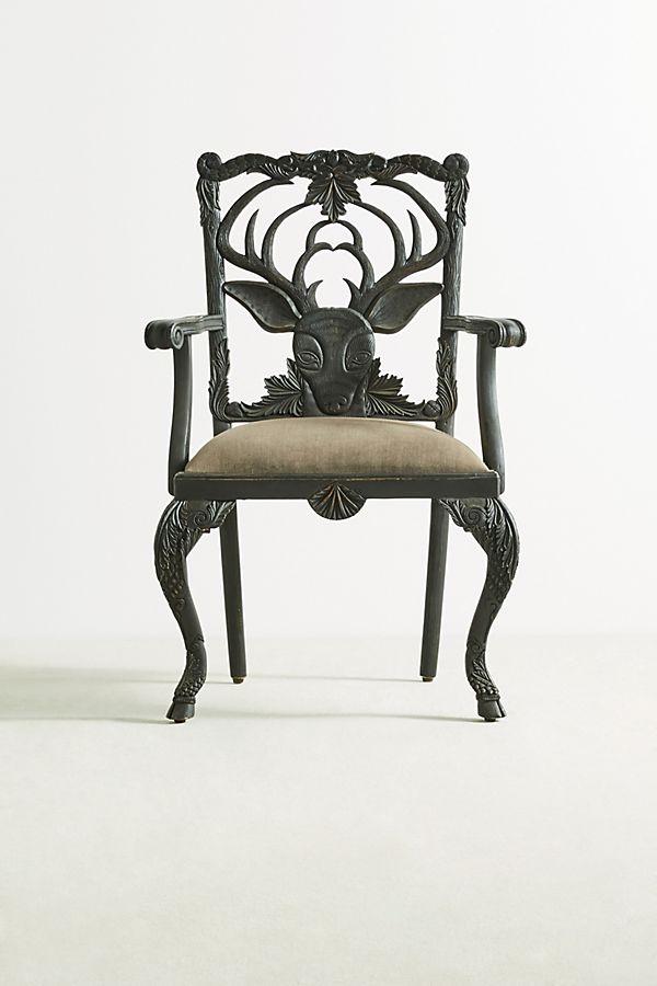 Slide View: 1: Handcarved Menagerie Deer Armchair