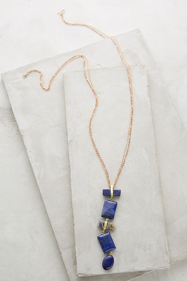 b56f342a9aa7 Lapis Ladder Necklace | Anthropologie