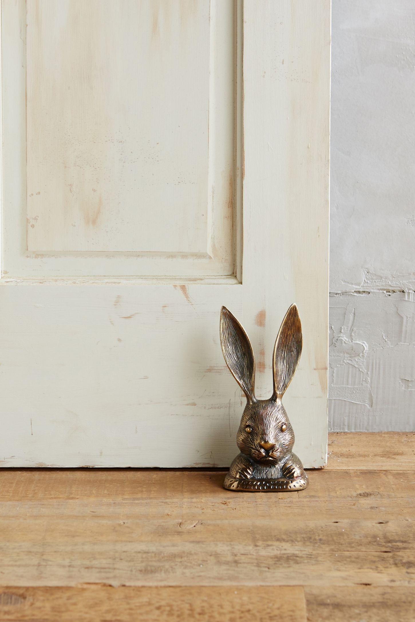DOOR STOPPER RABBIT DOORSTOP WOODEN BUNNY RABBIT DOOR STOP