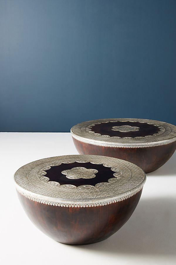 Drum Shaped Coffee Table.Embossed Meridian Coffee Table