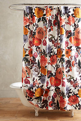 Gorgeous Fabric Rosette Shower Curtain Elegant Pink Ruched Clean Anthropologie