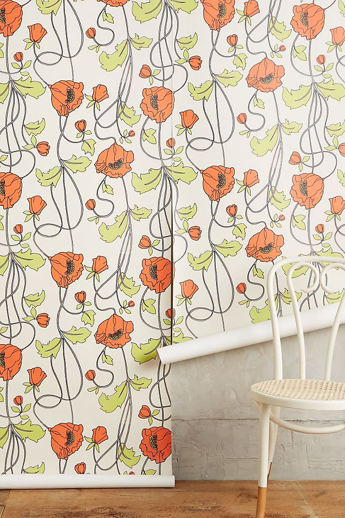 Draping Poppies Wallpaper Anthropologie