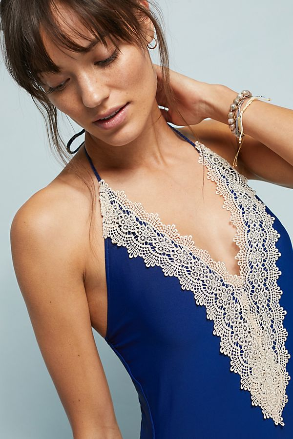 Slide View: 1: Anthropologie Lace-Front One-Piece Swimsuit