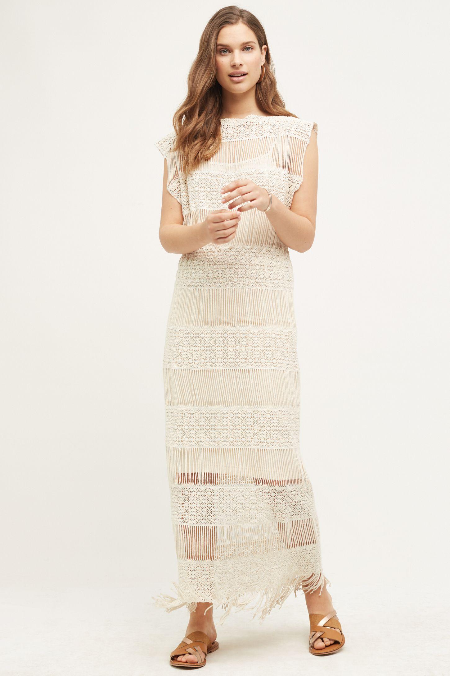 eb255048650 Fringed Crochet Maxi Dress